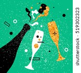 champagne flutes and bottle.... | Shutterstock .eps vector #519302323