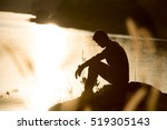 sad young man silhouette... | Shutterstock . vector #519305143