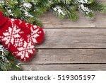 christmas wooden background... | Shutterstock . vector #519305197
