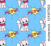 seamless pattern with cute cats ... | Shutterstock .eps vector #519307003