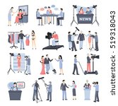 news and operator icon set with ... | Shutterstock . vector #519318043