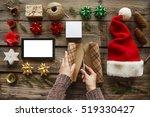 man wraps christmas gift. human ... | Shutterstock . vector #519330427