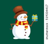 christmas white snowman in hat... | Shutterstock .eps vector #519334417