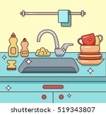 kitchen sink with kitchenware ... | Shutterstock .eps vector #519343807