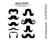 set of mustaches isolated on... | Shutterstock .eps vector #519347563
