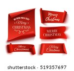 Set of five red, Merry Christmas, realistic, paper banners. Vector illustration. | Shutterstock vector #519357697