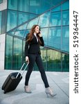 business travel   woman with... | Shutterstock . vector #519364447