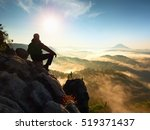 Hiker Man Take A Rest On...
