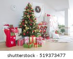 festively decorated home... | Shutterstock . vector #519373477