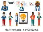 woman holding modular phone.... | Shutterstock .eps vector #519380263
