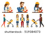 father feeding baby with spoon. ... | Shutterstock .eps vector #519384073