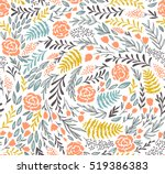 vector floral seamless pattern... | Shutterstock .eps vector #519386383