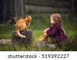 Stock photo little girl is playing with a big red cat in the country in russia image with selective focus and 519392227