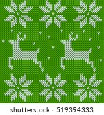 green knitted deers sweater in... | Shutterstock .eps vector #519394333