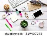 female wooden desktop with...   Shutterstock . vector #519407293