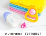 baby bottle with milk and towel ... | Shutterstock . vector #519408817