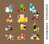 set of beverages concept icons  ... | Shutterstock .eps vector #519412423