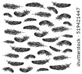 vector black and white feather... | Shutterstock .eps vector #519421447