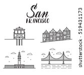 san francisco illustration with ... | Shutterstock .eps vector #519431173