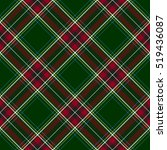 Green Red Diagonal Check Plaid...