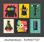 set of retro postage s stamp... | Shutterstock .eps vector #519437737