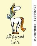 magic unicorn card. vintage... | Shutterstock .eps vector #519446437