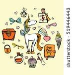 magic unicorn card. vintage... | Shutterstock .eps vector #519446443
