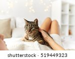 Stock photo pets comfort christmas winter and people concept happy young woman with cat lying in bed at 519449323