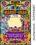 mardi gras festival poster... | Shutterstock .eps vector #519454687