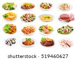 set of various plates of food... | Shutterstock . vector #519460627