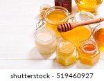 various types of honey in glass ... | Shutterstock . vector #519460927