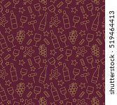 seamless pattern with wine and... | Shutterstock .eps vector #519464413