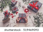 creative hobby. gift wrapping.... | Shutterstock . vector #519469093