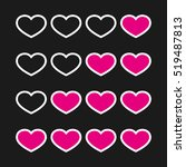 rating with flat hearts  icons... | Shutterstock .eps vector #519487813