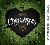 christmas tree branches border. ... | Shutterstock .eps vector #519488197