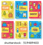 vegan vector brochure cards set.... | Shutterstock .eps vector #519489403