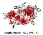 watercolor flowers. romantic...   Shutterstock . vector #519495277