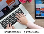 woman with macbook and ipad pro ... | Shutterstock . vector #519503353