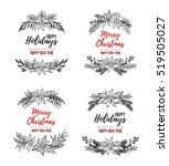 hand drawn vector set of xmas... | Shutterstock .eps vector #519505027