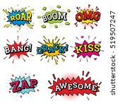 set of comic text in pop art... | Shutterstock .eps vector #519507247