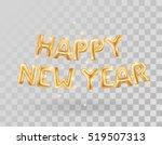metallic gold letter balloons... | Shutterstock .eps vector #519507313