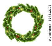 christmas tree beautiful wreath ... | Shutterstock .eps vector #519512173