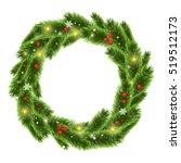 christmas tree beautiful wreath ... | Shutterstock .eps vector #519512173