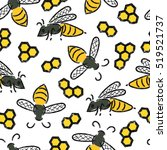 seamless pattern with bees and...   Shutterstock .eps vector #519521737