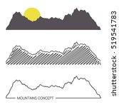 set of mountain ridges on white ... | Shutterstock .eps vector #519541783
