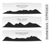 set of mountain range banners
