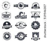 set of turkey bird retro badges ... | Shutterstock .eps vector #519546307