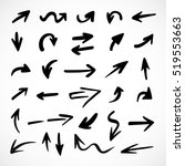 hand drawn arrows  vector set | Shutterstock .eps vector #519553663