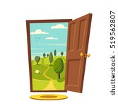 open door. valley landscape.... | Shutterstock .eps vector #519562807