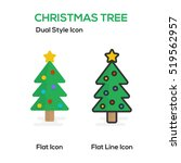 christmas tree flat icon and...   Shutterstock .eps vector #519562957